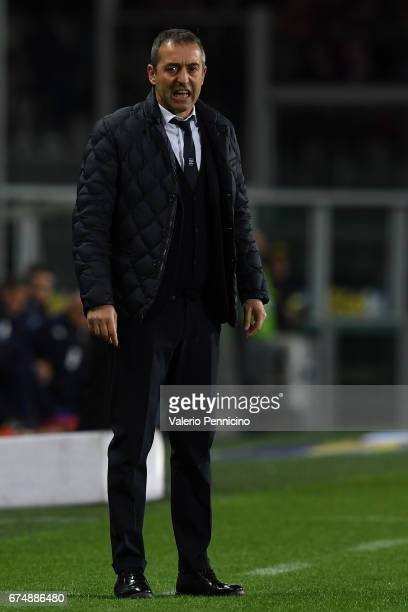 Sampdoria head coach Marco Giampaolo reacts during the Serie A match between FC Torino and UC Sampdoria at Stadio Olimpico di Torino on April 29 2017...
