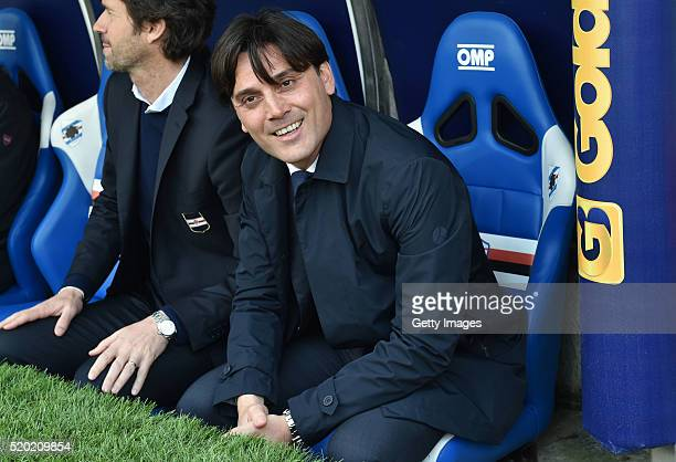 Sampdoria head coach Vincenzo Montella looks on before the Serie A match between UC Sampdoria and Udinese Calcio at Stadio Luigi Ferraris on April 10...