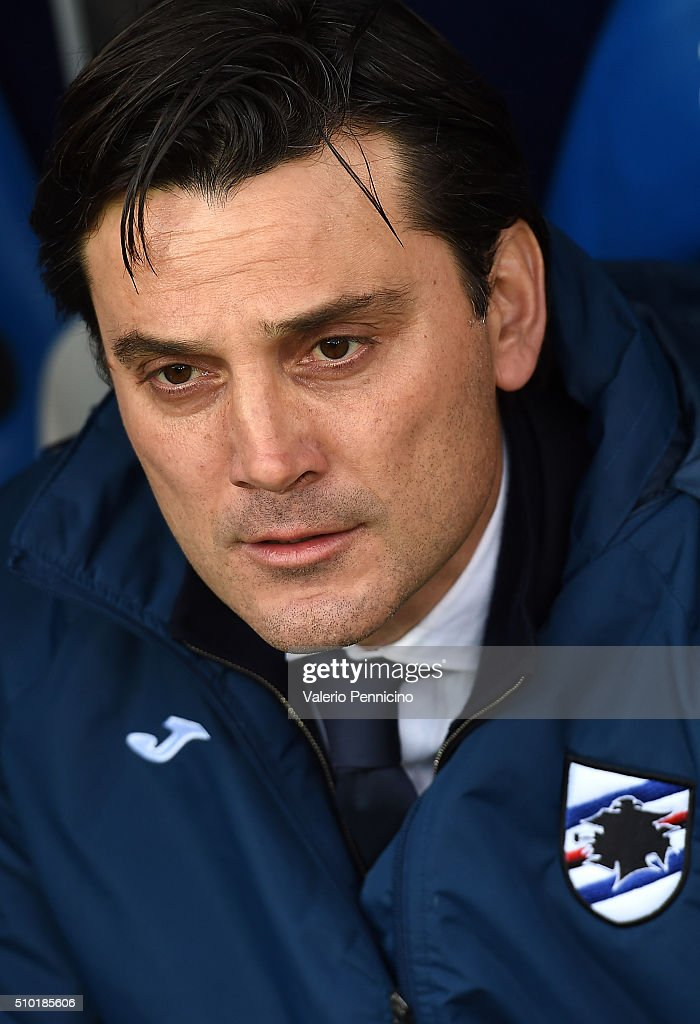 UC Sampdoria head coach <a gi-track='captionPersonalityLinkClicked' href=/galleries/search?phrase=Vincenzo+Montella&family=editorial&specificpeople=217766 ng-click='$event.stopPropagation()'>Vincenzo Montella</a> looks on during the Serie A match between UC Sampdoria and Atalanta BC at Stadio Luigi Ferraris on February 14, 2016 in Genoa, Italy.