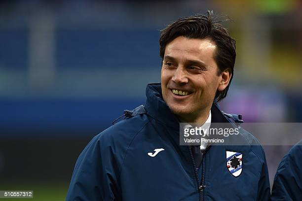 Sampdoria head coach Vincenzo Montella looks on during the Serie A match between UC Sampdoria and Atalanta BC at Stadio Luigi Ferraris on February 14...