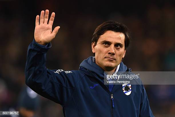 Sampdoria head coach Vincenzo Montella salutes the crowd during the Serie A match between UC Sampdoria and US Sassuolo Calcio at Stadio Luigi...