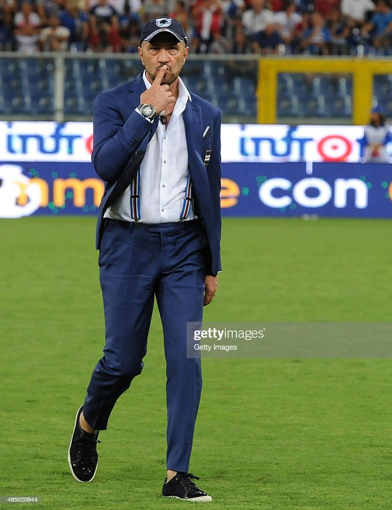 UC Sampdoria head coach <a gi-track='captionPersonalityLinkClicked' href=/galleries/search?phrase=Walter+Zenga&family=editorial&specificpeople=891748 ng-click='$event.stopPropagation()'>Walter Zenga</a> looks on during the Serie A match between UC Sampdoria and Carpi FC at Stadio Luigi Ferraris on August 23, 2015 in Genoa, Italy.