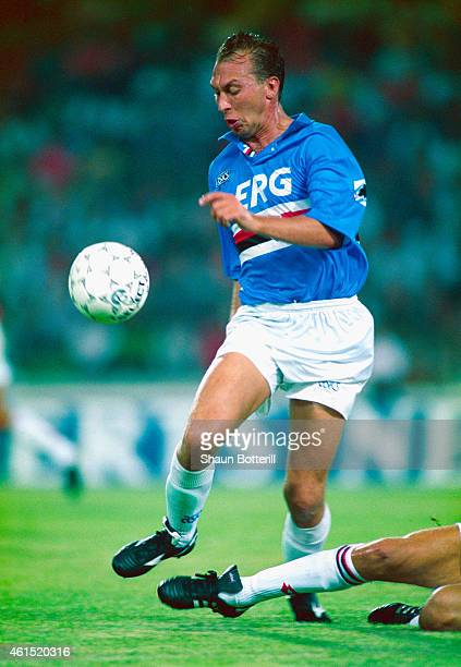 Sampdoria player David Platt pictured in action during an Italian League game in July 1993 in Genoa Italy Platt made over 50 appearances for the...