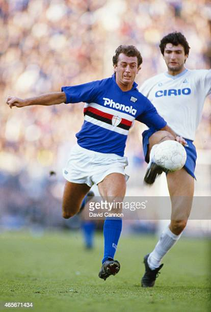 Sampdoria player Trevor Francis in action during a match against Napoli circa 1984 in Genoa Italy