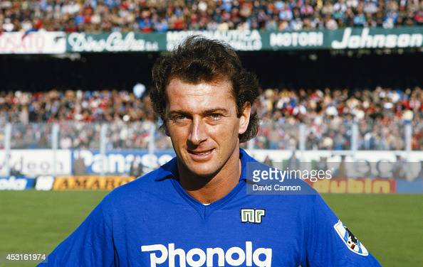 Sampdoria player Trevor Francis pictured before a game against Napoli circa 1984
