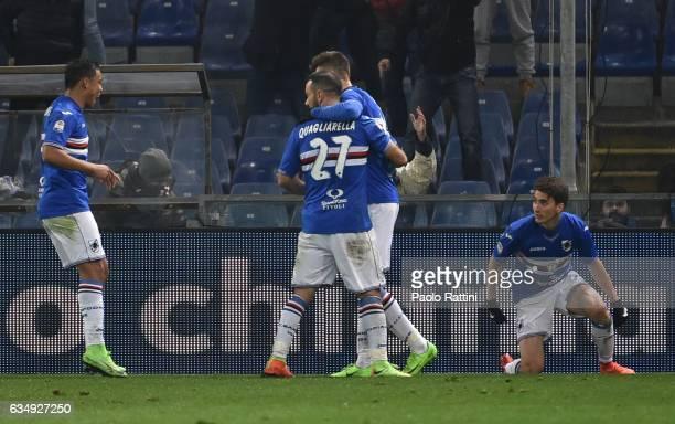 Sampdoria players celebrate after score 21 Patrik Schick during the Serie A match between UC Sampdoria andv Bologna FC at Stadio Luigi Ferraris on...