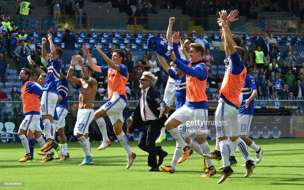 Sampdoria players celebrate at the end with the President Massimo Ferrero after the Serie A match between UC Sampdoria and AC Milan at Stadio Luigi Ferraris on September 24, 2017 in Genoa, Italy.