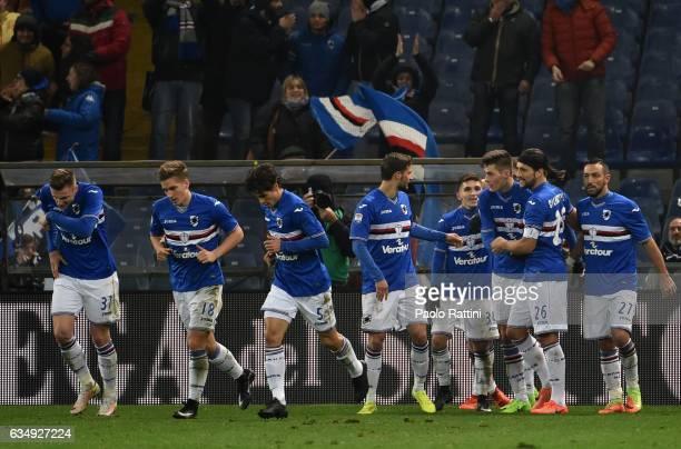 Sampdoria players celebrates after goal Patrik Schick 21 during the Serie A match between UC Sampdoria andv Bologna FC at Stadio Luigi Ferraris on...