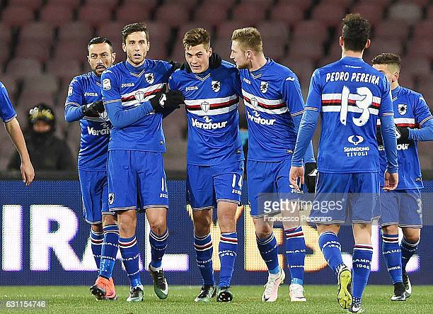 Sampdoria players celebrates after the Elseid Hysaj own goal of 01 during the Serie A match between SSC Napoli and UC Sampdoria at Stadio San Paolo...