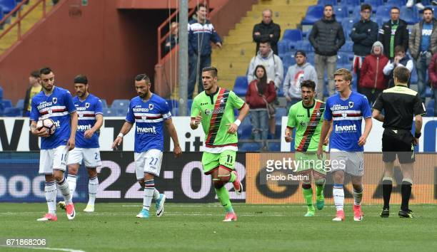 Sampdoria players disappointment after score Diego Falcinelli during the Serie A match between UC Sampdoria and FC Crotone at Stadio Luigi Ferraris...
