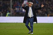 Sampdoria president Massimo Ferrero salutes the fans at the end of the Serie A match between UC Sampdoria and AS Roma at Stadio Luigi Ferraris on...