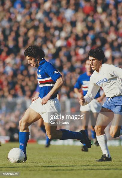 Sampdoria striker Gianluca Vialli in action during a match against Napoli circa 1984 in Genoa Italy