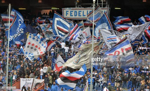 Sampdoria supporters during the Serie A match between UC Sampdoria and FC Crotone at Stadio Luigi Ferraris on April 23 2017 in Genoa Italy