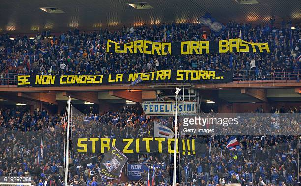 Sampdoria supporters protest against the President Massimo Ferrero during the Serie A match between UC Sampdoria and FC Internazionale at Stadio...