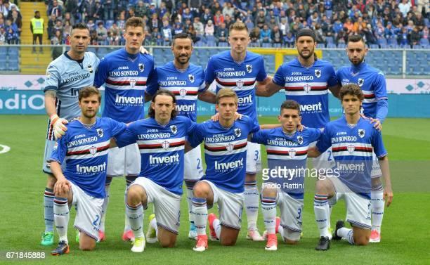 Sampdoria Team for the Serie A match between UC Sampdoria and FC Crotone at Stadio Luigi Ferraris on April 23 2017 in Genoa Italy