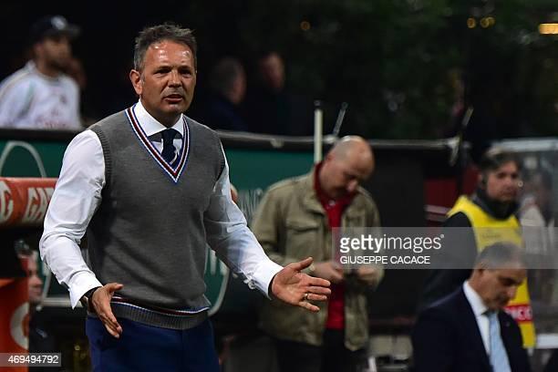 Sampdoria's coach from Serbia Sinisa Mihajlovic gestures during the Italian Serie A football match between AC Milan and Sampdoria at San Siro Stadium...