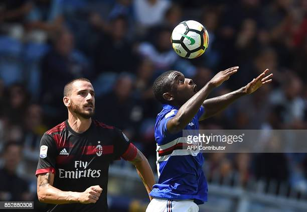 Sampdoria's Colombian forward Duvan Zapata vies with AC Milan's Italian defender Leonardo Bonucci during the Italian Serie A football match between...