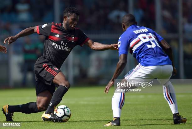 Sampdoria's Colombian forward Duvan Zapata vies with AC Milan's Ivorian midfielder Franck Kessie during the Italian Serie A football match between...