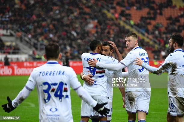 Sampdoria's Colombian forward Luis Fernando Muriel Fruto celebrates with teammates after scoring a free kick during the Italian Serie A football...