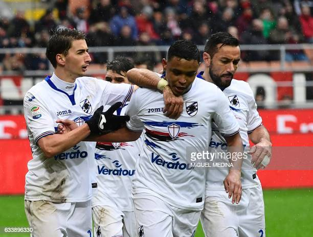 Sampdoria's Colombian forward Luis Fernando Muriel Fruto celebrates with teammates after scoring a penalty during the Italian Serie A football match...