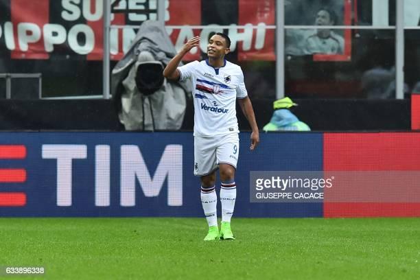 Sampdoria's Colombian forward Luis Fernando Muriel Fruto celebrates after scoring a penalty during the Italian Serie A football match AC Milan vs...