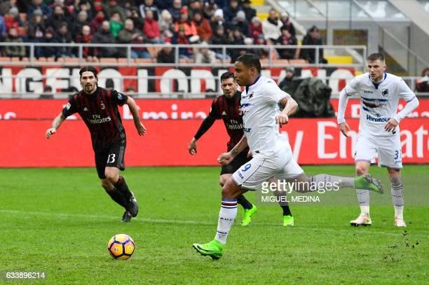 Sampdoria's Colombian forward Luis Fernando Muriel Fruto kicks a penalty during the Italian Serie A football match AC Milan vs Sampdoria at 'San...