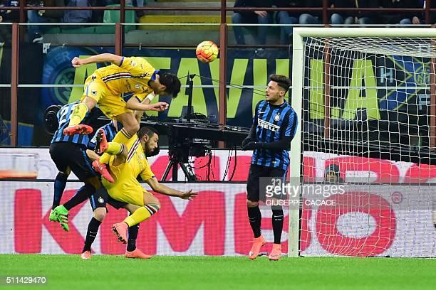 Sampdoria's defender from Italy Andrea Ranocchia heads the ball during the Italian Serie A football match Inter Milan vs Sampdoria at San Siro...