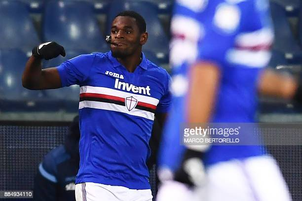 Sampdoria's forward Duvan Zapata from Colombia celebrates after scoring during the Italian Serie A football match Sampdoria Vs Lazio on December 3...