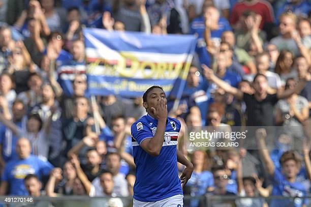 Sampdoria's forward from Colombia Luis Muriel celebrates after scoring during the Italian Serie A football match Sampdoria vs Inter Milan on October...