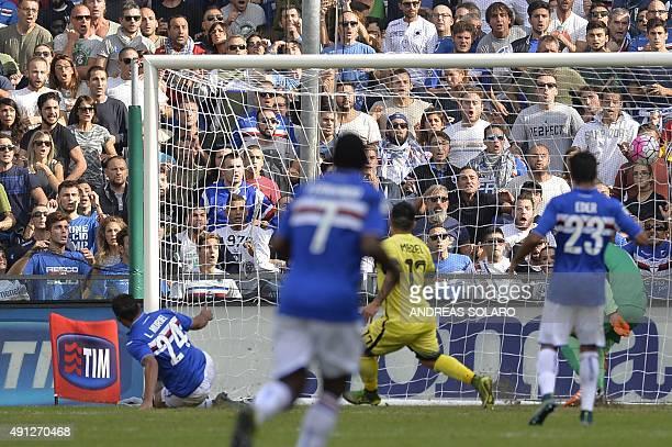 Sampdoria's forward from Colombia Luis Muriel scores during the Italian Serie A football match Sampdoria vs Inter Milan on October 4 2015 at Luigi...