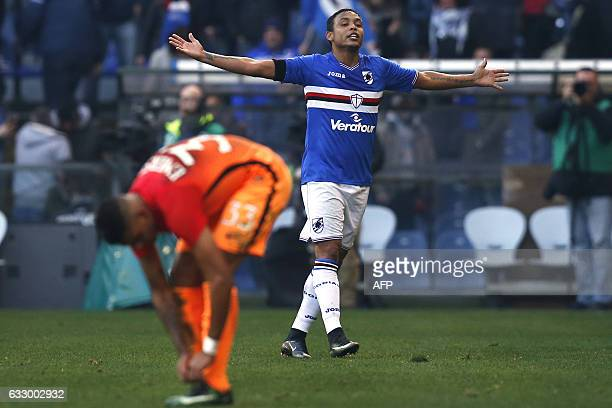 Sampdoria's forward Luis Fernando Muriel of Colombia celebrates after scoring during the Italian Serie A football match Sampdoria Vs As Roma on...