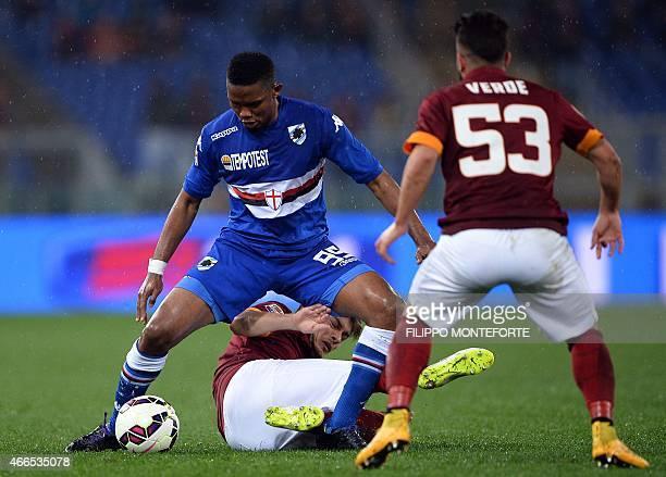 Sampdoria's forward Samuel Eto'o of Cameroon vies with Roma's forward from Serbia Adem Ljajic and forward Daniele Verde during the Italian Serie A...