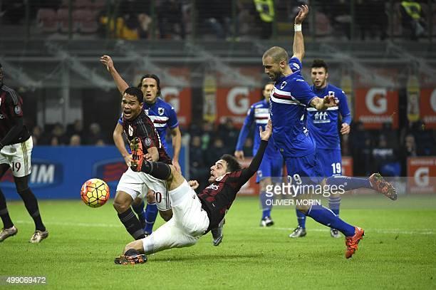 Sampdoria's Italian defender Lorenzo De Silvestri vies for the ball with AC Milan's Italian midfielder Giacomo Bonaventura during the Italian Serie A...