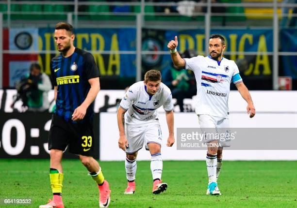 Sampdoria's Italian forward Fabio Quagliarella celebrates after scoring a penalty kick during the Italian Serie A football match between Inter Milan...