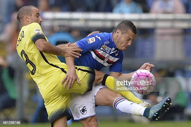 Sampdoria's midfielder from Algeria Djamel Mesbah fights for the ball with Inter Milan's forward from Argentina Rodrigo Palacio during the Italian...