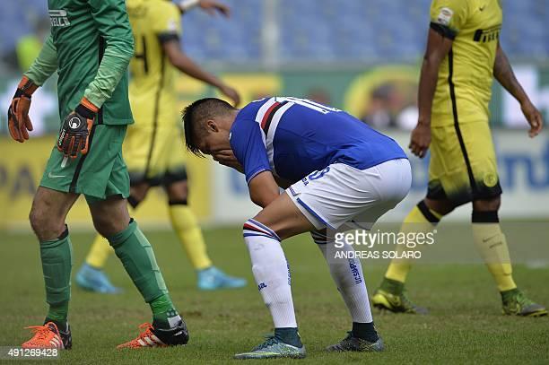 Sampdoria's midfielder from Argentina Joaquin Correa reacts after missing a shot during the Italian Serie A football match Sampdoria vs Inter Milan...