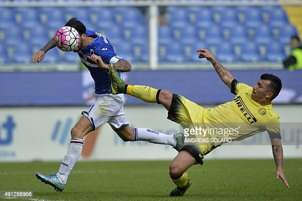 Sampdoria's midfielder from Italy Roberto Soriano fights for the ball with Inter Milan's midfielder from Chile Gary Medel during the Italian Serie A...