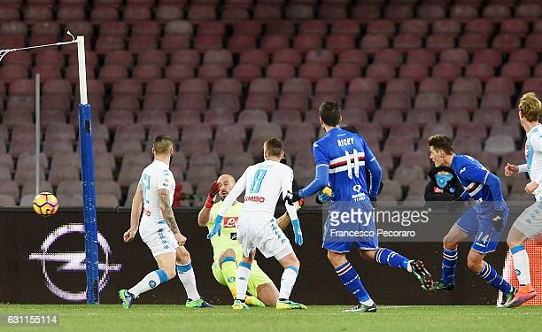 Sampdorias player Patrik Schick shoot before the Elseid Hysaj own goal of 01 during the Serie A match between SSC Napoli and UC Sampdoria at Stadio...