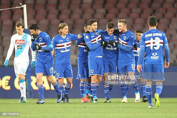 Sampdoria's players celebrate after Napoli's own goal during the Italian Serie A football match SSC Napoli vs UC Sampdoria on January 7 2017 at the...
