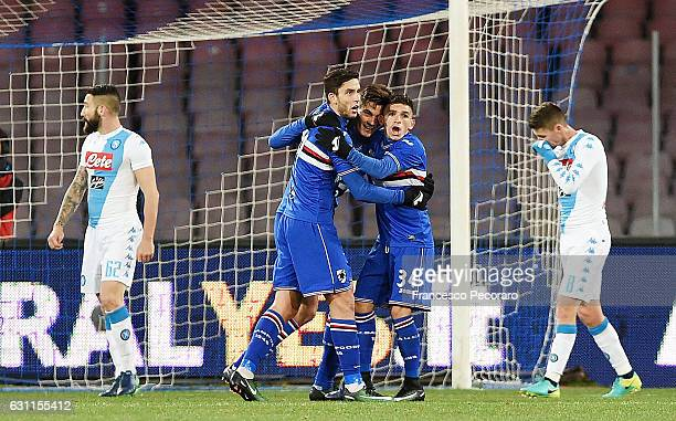 Sampdorias players celebrates after the 01 own goal beside the disappointment of Lorenzo Tonelli and Jorginho players of SSC Napoli during the Serie...