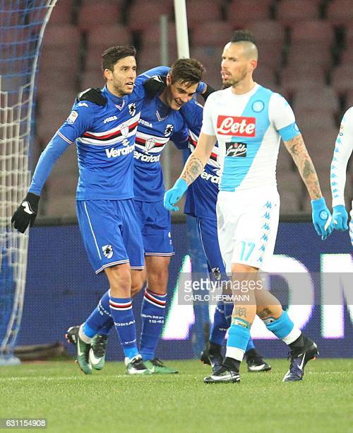 Sampdoria's players next to celebrate Napoli's midfielder from Slovakia Marek Hamsik after a Napoli's own goal during the Italian Serie A football...