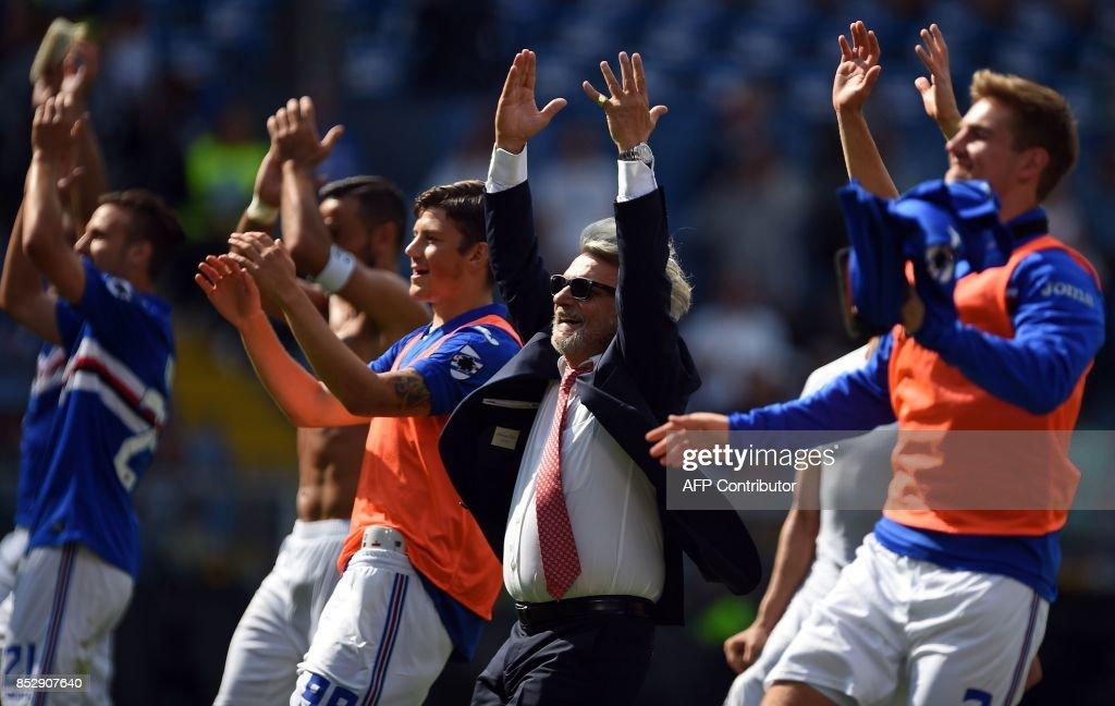Sampdoria's president Massimo Ferrero (C) and his Sampdoria's players react after winning the Italian Serie A football match Sampdoria versus AC Milan at the Luigi Ferraris Stadium in Genoa on September 24, 2017. /