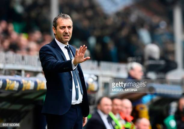 Sampdoria's Swiss coach Marco Giampaolo gestures during the Italian Serie A football match Sampdoria versus Juventus on March 19 2017 at the Luigi...