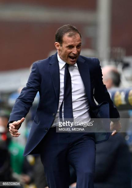 Sampdoria's Swiss coach Marco Giampaolo reacts during the Italian Serie A football match Sampdoria versus Juventus on March 19 2017 at the Luigi...
