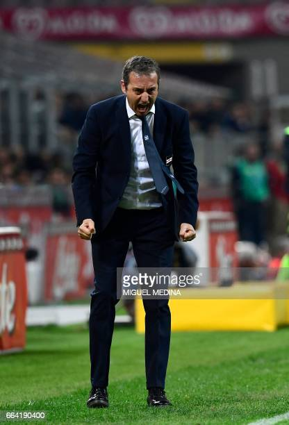 Sampdoria's Swiss coach Marco Giampaolo reacts during the Italian Serie A football match between Inter Milan and Sampdoria at the San Siro stadium in...