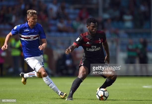 Sampdoria's Uruguayan midfielder Gaston Ramirez vies with AC Milan' Ivorian midfielder Franck Kessie during the Italian Serie A football match...