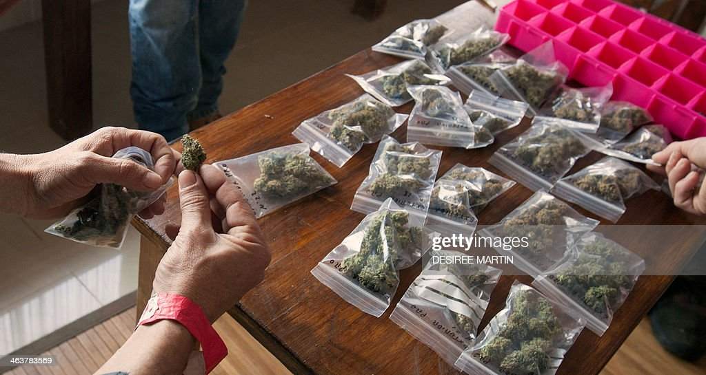 Sample bags of cannabis are displayed on a table during a meeting of members and guests of the cannabis association ACMEFUR in celebration of San Canuto's day on the Spanish Canary island of Fuerteventura on January 18, 2014.In Spain, Canute IV or Canute the Holy a former Danish King who became patron saint of Denmark, has seen his feast adopted as a tongue in cheek celebration for the legalization of cannabis, San Canuto's day, stemming from the Spanish colloquialism for a joint, canuto.