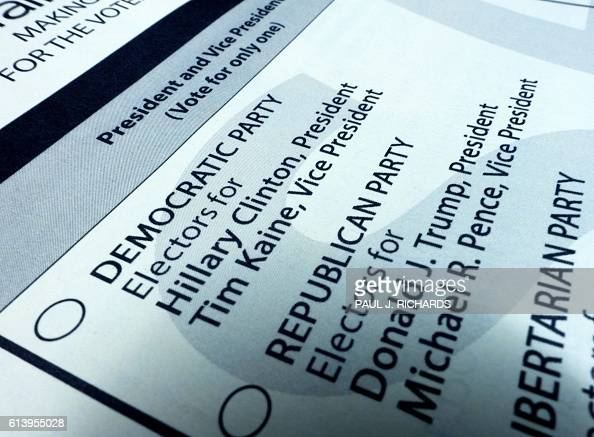 A sample ballot is seen October 11 2016 in Fairfax Virginia for the upcoming November 8 US general elections / AFP / PAUL J RICHARDS