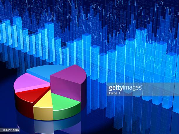 Sample image of a colorful pie chart and blue bar graphs