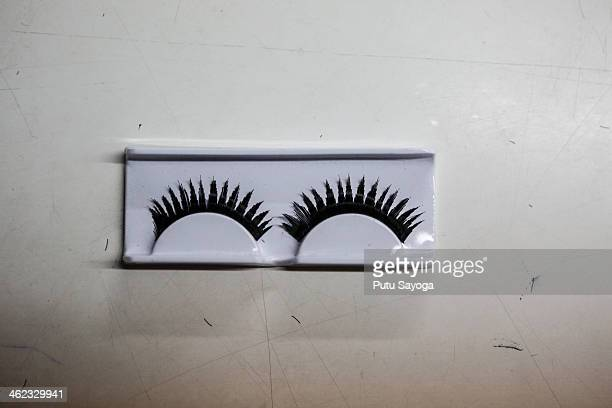 A sample of a set of completed false eyelashes on January 13 2014 in Purbalingga Central Java Indonesia The Victoria Albert Museum in London UK has...